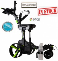 MGI ZIP X5 Lithium Electric Golf Caddy Trolley with Braking System - Titanium Grey - Shown with Seat and Sand & Seed Bottle