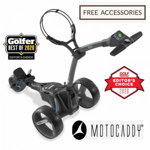 2020 Motocaddy M5 Connect Lithium Golf Caddy - Side View (Black) - Free Accessories