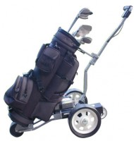 Electric Golf Trolley - Lectronic Kaddy TS-1 Model - Side View With Bag