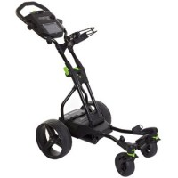 MGI Coaster Quad Electric Golf Caddy - Side View (Black with Lime Accents)