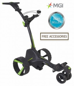 MGI ZIP X5 Lithium Electric Golf Caddy Trolley with Braking System - Black Color Best Seller_Free Accessories