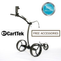 Cart-Tek GRi-975Li Black Electric Golf Trolley - Rear View - Best Seller