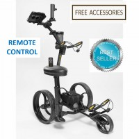 Remote Control Golf Caddy - Bat Caddy X8R Model Black - Right Side View with Golf Bag (REMOTE)_Free Accessories