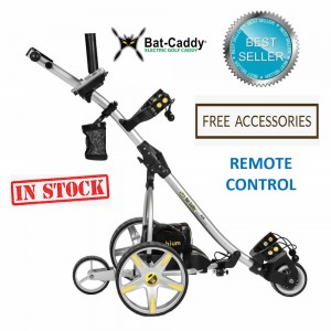 Remote Control Golf Caddy - Bat-Caddy X3R - Silver Color / Right Front Side Remote with FREE Accessories (In Stock)