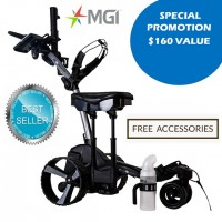 Best Seller - MGI ZIP Navigator Lithium Remote Control Golf Caddy Trolley with Seat - Black Color - Best Seller_Free Accessories - SPECIAL PROMOTION!