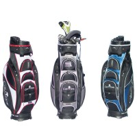 Golf Caddy Accessories - Cart-Tek Black Blue and Grey Golf Bag on Cart Image