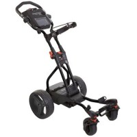 MGI Hunter Quad Electric Golf Caddy - Side View (Black/Red)